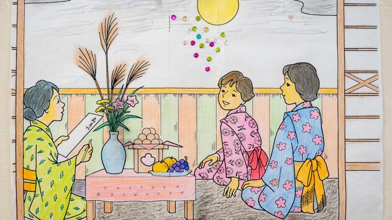本日は中秋の名月!デイサービスセンター豊和で制作した「お月見の塗り絵」と「9月の壁画コスモス畑」をご紹介します!